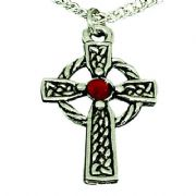 Celtic Cross Pendant With Red Stone